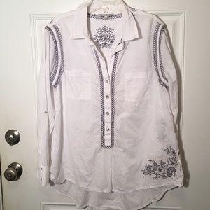 JOHN MARK Embroidered Blouse Tunic White sz  L